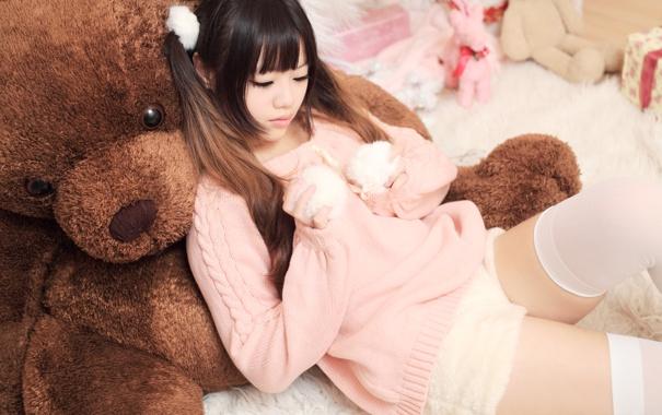Фото обои лицо, настроение, волосы, кукла, мишка, азиатка, косы