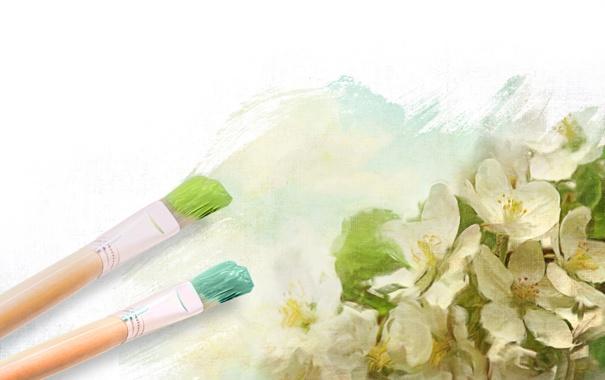 Фото обои цветы, рисунок, кисти