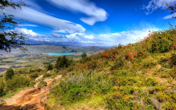 Фото обои небо, трава, солнце, облака, горы, озеро, склон