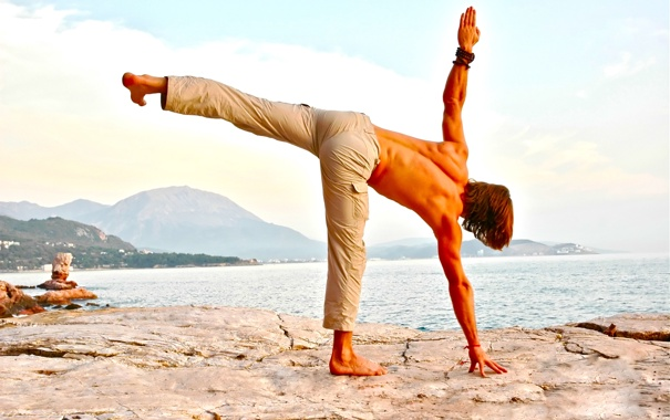 Фото обои men, pose, yoga, posture