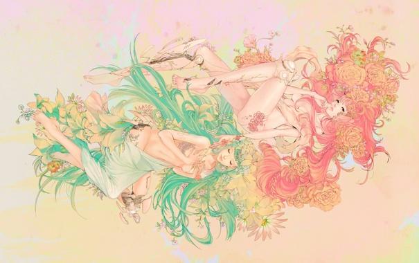 Фото обои цветы, фон, девушки, узоры, арт, андроид