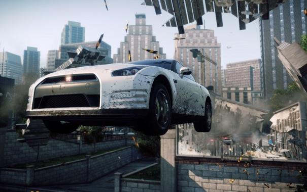 Фото обои погоня, полиция, Need for Speed, Most Wanted, ниссан, Electronic Arts, белый