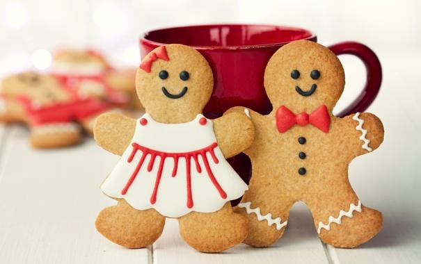 Фото обои праздник, человечки, печенье, Рождество, чашка, сладости, Новый год