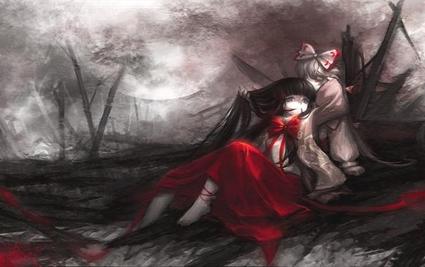 Фото обои девушки, луна, аниме, развалины, бант, Touhou