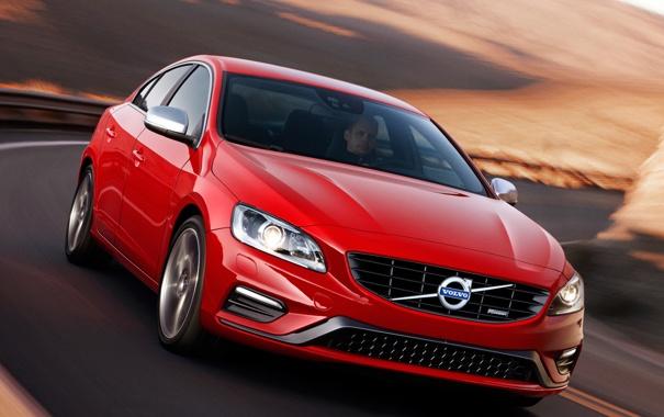 Фото обои машина, Volvo, красная, вид спереди, S60, R-design