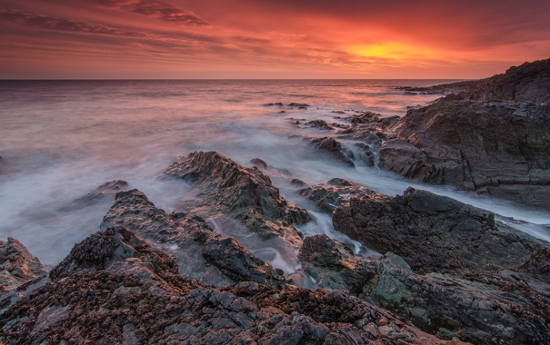 Фото обои небо, природа, камни, океан, скалы, рассвет, берег