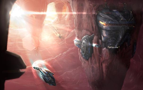 Фото обои полет, закат, металл, скалы, транспорт, корабли, станция
