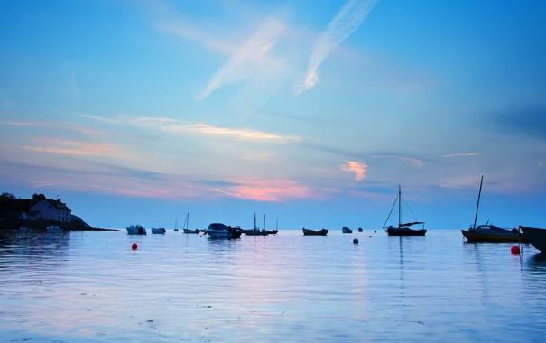 Фото обои море, рассвет, лодки, утро, залив