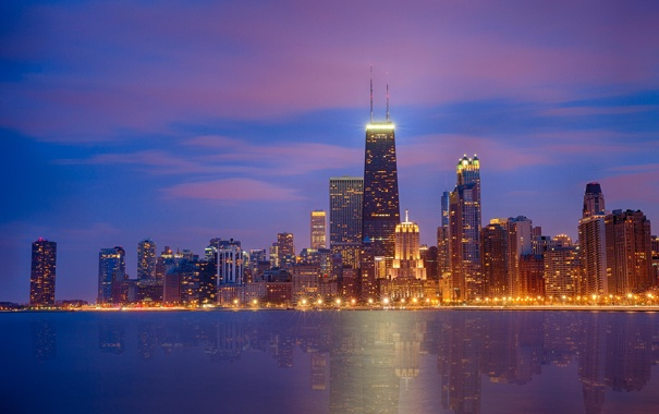 Фото обои ночь, огни, небоскребы, USA, чикаго, Chicago, illinois