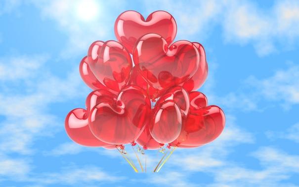 Фото обои любовь, воздушные шары, сердечки, love, happy, sky, heart