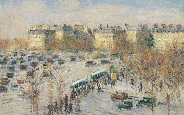 Фото обои небо, пейзаж, город, Париж, дома, картина, Гюстав Луазо