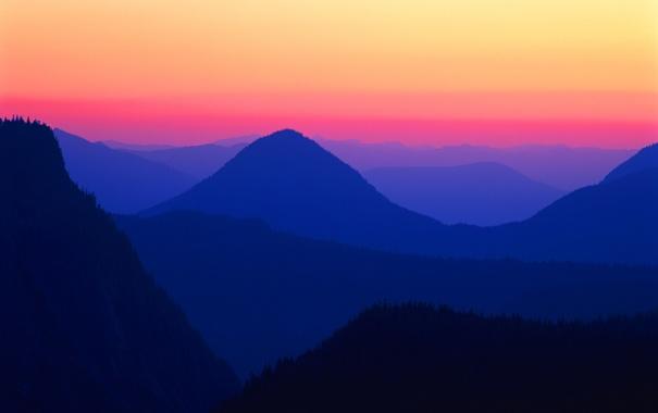 Фото обои лес, небо, закат, горы, обои, вечер, зарево