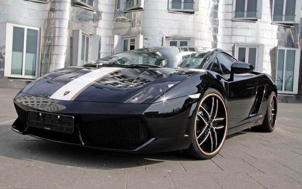 Фото обои чёрный, Гайардо, Lamborghini Gallardo, золотая полоса
