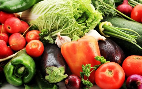 Фото обои зелень, яблоки, лук, баклажаны, перец, фрукты, овощи