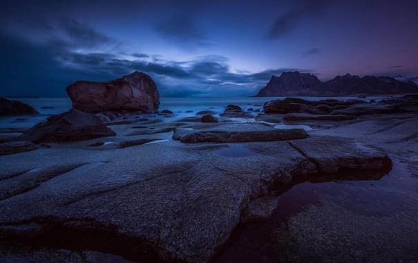 Фото обои пейзаж, ночь, океан, скалы