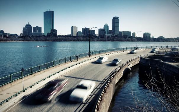 Фото обои дорога, город, фон, Объездная