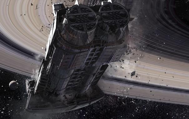 Фото обои обломки, космос, звезды, корабль, планета, кольца, разрушение