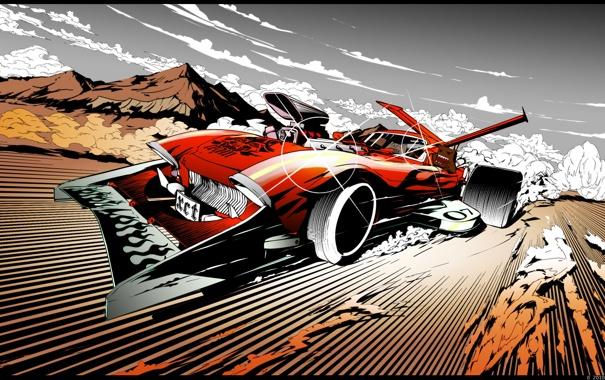 Фото обои арт, тачка, быстрая, сумасшедший водила, reactive car, energy drive