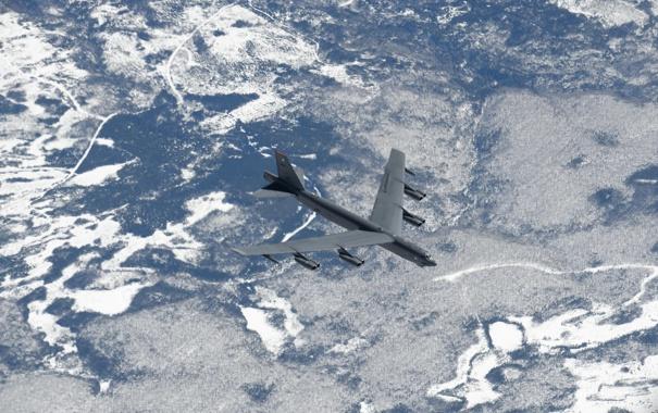 Фото обои полет, ландшафт, Boeing, бомбардировщик, стратегический, тяжёлый, Stratofortress