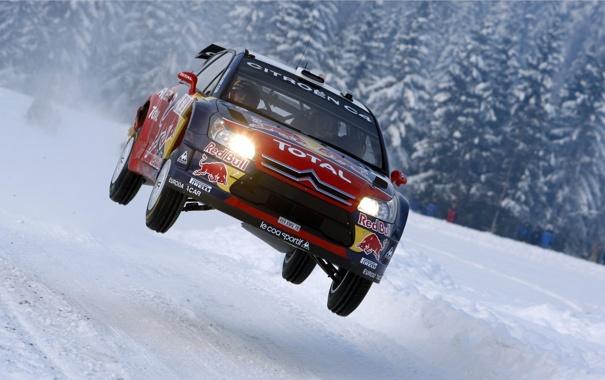 Фото обои зима, in the Air, 4 ввоздух, Citroen, ралли