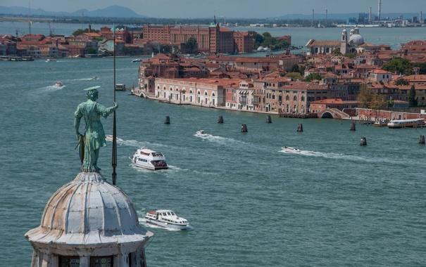 Фото обои пейзаж, корабль, дома, Италия, Венеция, канал