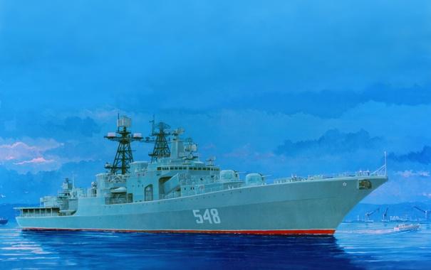 Фото обои вода, рисунок, корабль, большой, арт, порт, катер