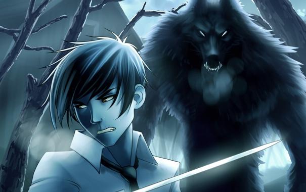 Фото обои ночь, фантастика, луна, волк, лезвие, парень, полнолуние