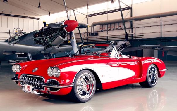 Фото обои car, красный, самолет, обоя, ангар, corvette, автомобиль