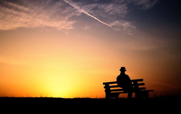 Фото обои пейзаж, природа, обои, поляна, утро, лавочка, мужчина