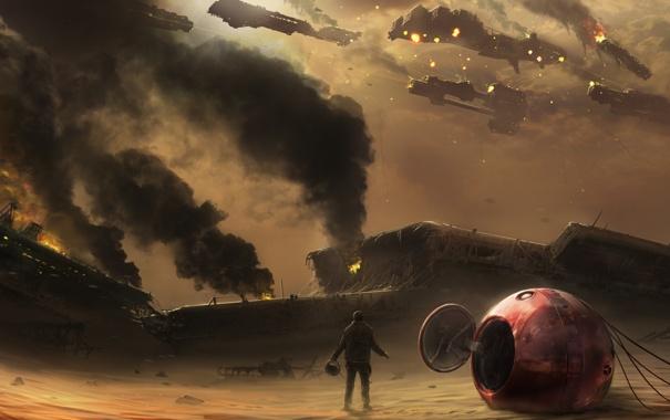 Фото обои огонь, пустыня, человек, крушение, корабли, арт, капсула