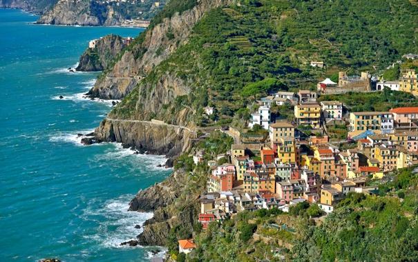 Фото обои море, пейзаж, скалы, дома, Италия, Риомаджоре, Чинкве-Терре