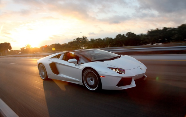 Фото обои sky, родстер, white, Aventador, суперкар, белый, sun