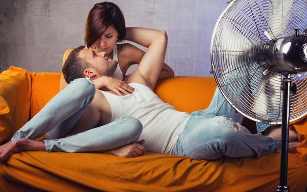 Фото обои девушка, настроение, вентилятор, парень