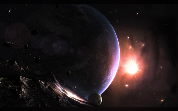 Фото обои планета, спутник, астероид