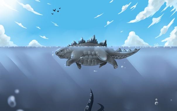 Фото обои море, облака, щупальца, ящер, плавание, Godzilla