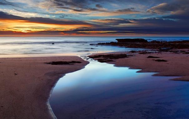 Фото обои море, пляж, небо, закат, океан