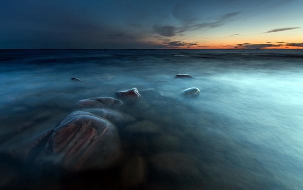 Фото обои море, закат, камни, Sweden, Varmland, Takene