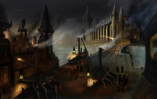 Фото обои ночь, мост, люди, замок, арт, фонари