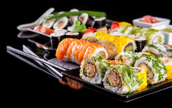 Обои зелень, green, rolls, sushi, суши, роллы, начинка картинки на рабочий стол, раздел еда - скачать