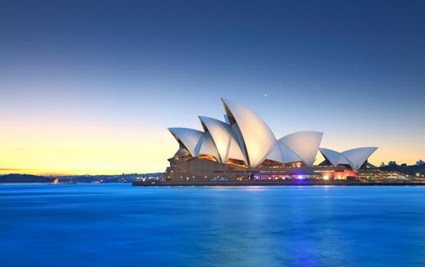 Фото обои небо, луна, Австралия, залив, Сидней, сумерки, Оперный театр