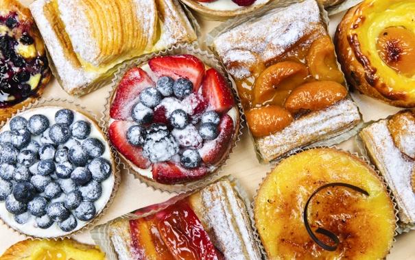 Фото обои ягоды, фрукты, выпечка, пироги