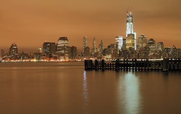 Фото обои ночь, город, NYC, hudson river
