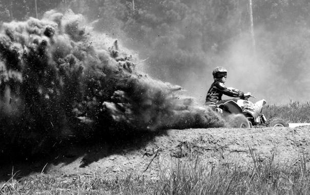 Фото обои пыль, Грязь, квадроцикл, гонщик