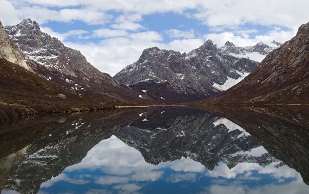 Фото обои небо, вода, облака, снег, горы, Китай