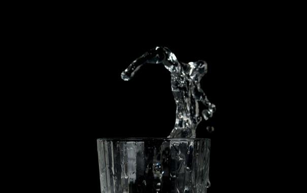 Фото обои брызги, фон, чёрный, вода, стакан