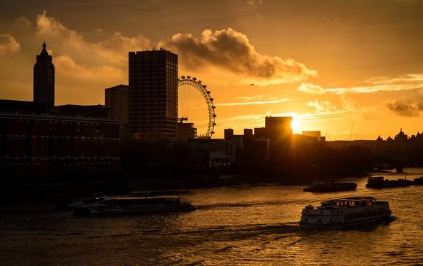 Фото обои облака, закат, город, река, Англия, Лондон, здания