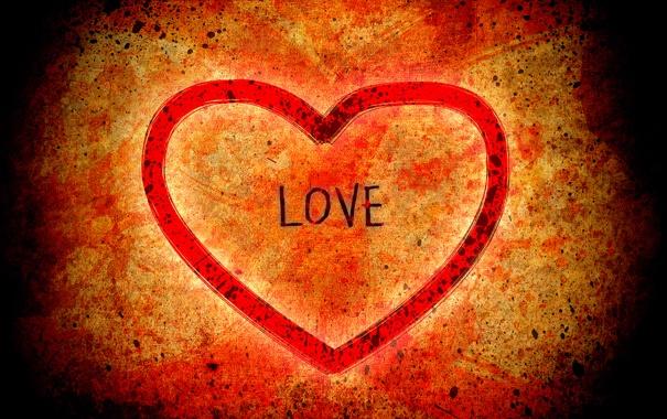 Фото обои любовь, оранжевый, красный, фон, настроение, сердце, чувства