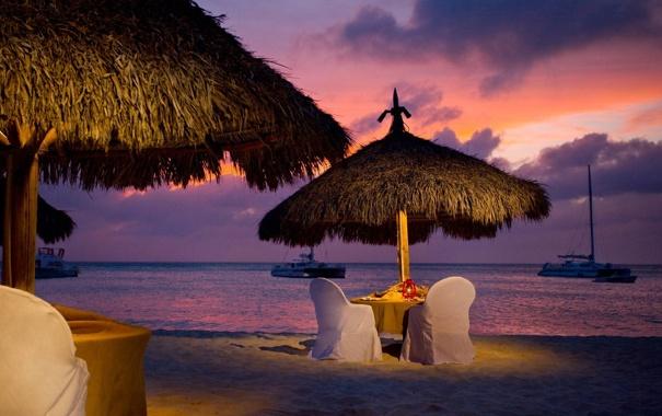 Фото обои море, пляж, романтика, вечер, beach, evening, romantic