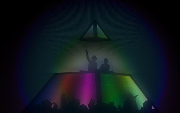Фото обои музыка, люди, руки, арт, пирамида, концерт, daft punk