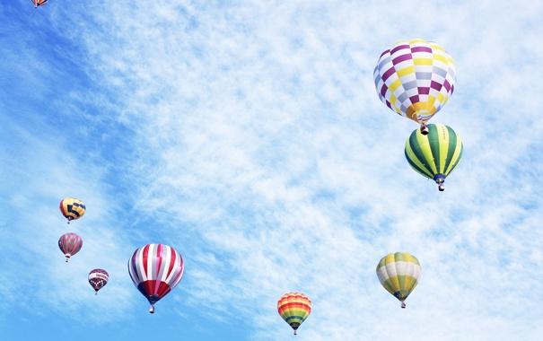 Фото обои небо, разноцветные, воздушные, шары